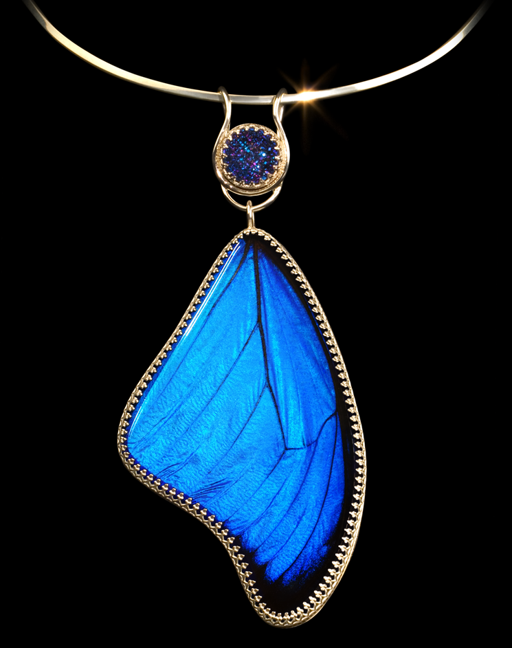 Morpho pendant art jewelry by poppy pendant is suspended from a sterling silver collar a detachable titanium drusy bail joins a genuine morpho butterfly wing which is set under hand cut and mozeypictures Choice Image